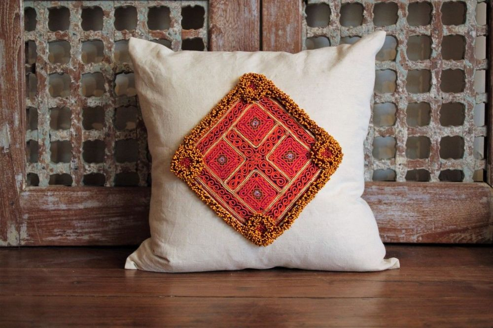 Cushion With Vintage Linen And Antique Afghan Textile